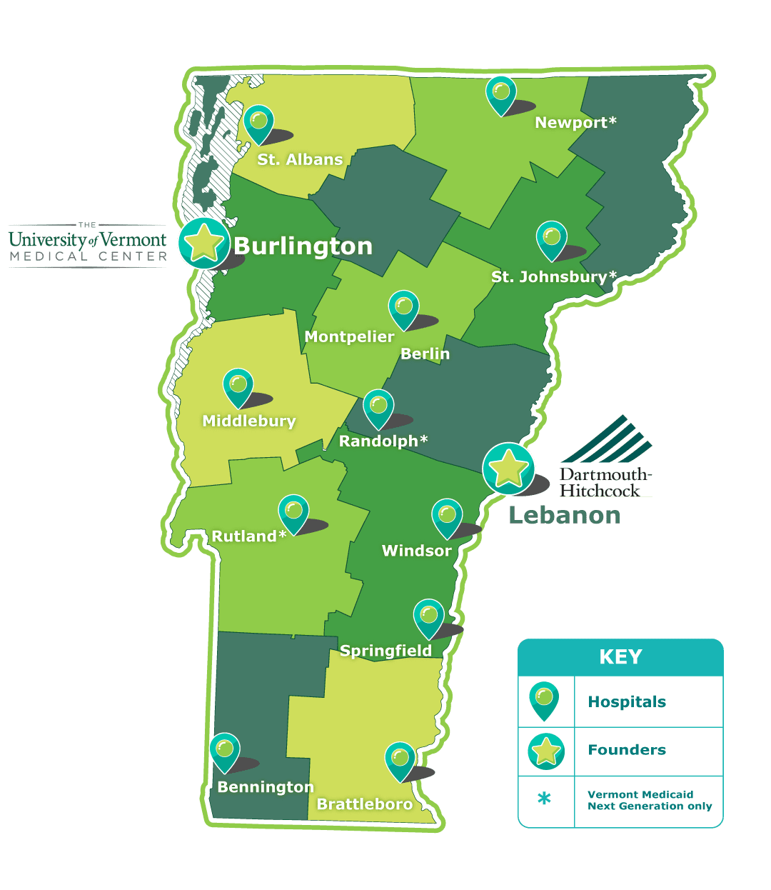 A visual map of the state of Vermont segmented into its counties, showing the location of participating hospitals as well as the two founding hospitals - University of Vermont Medical Center in Burlington, Vermont and Dartmouth-Hitchcock in Lebanon, New Hampshire.