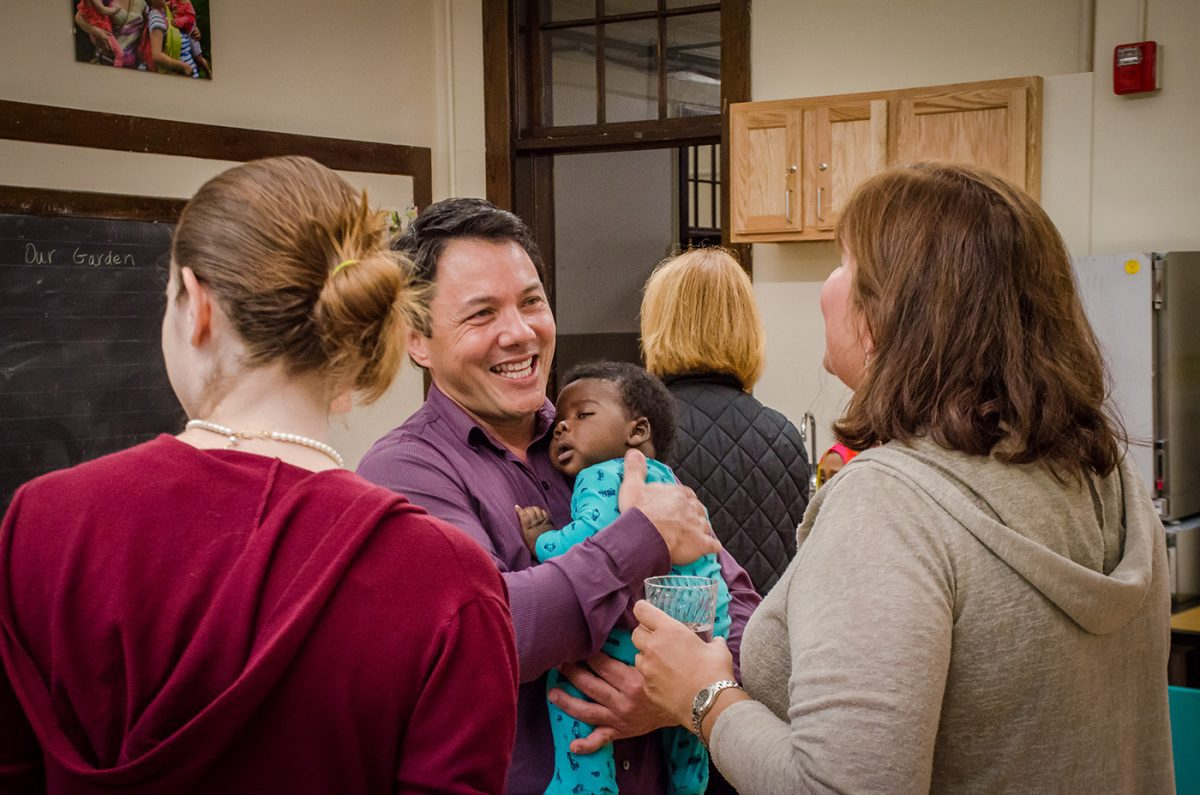 Guests and Building Strong Family Clinic team members mingle at the open house on September 24, 2019.