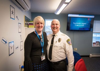 Lorna Mattern, Executive Director of United Counseling Services, and Bennington Police Chief Paul Doucette, at PUCK Open House January 2020