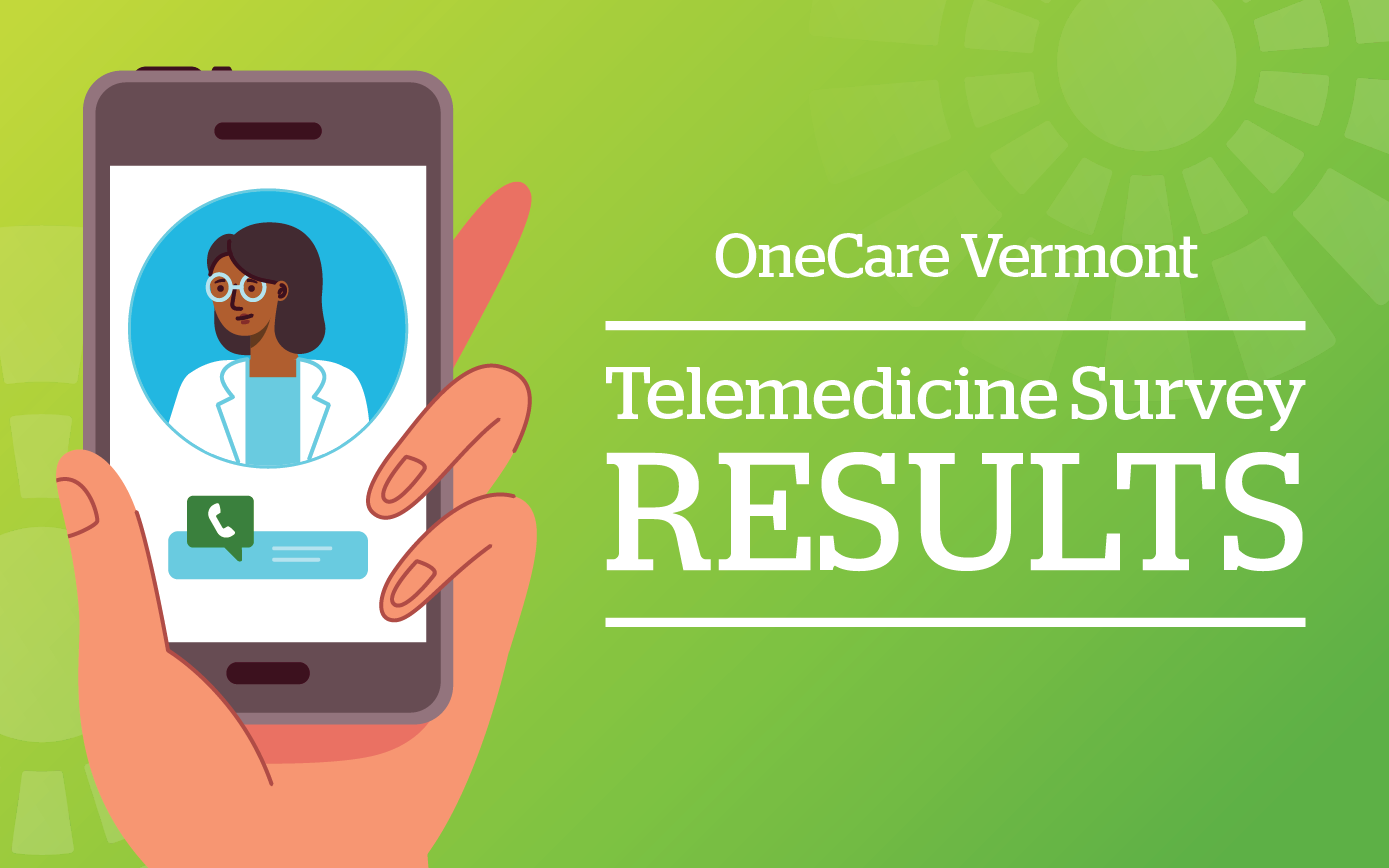 Telehealth survey results graphic - showing an illustration of a black female doctor in video chat on a smart phone, with the title OneCare Telemedicine Survey Results.