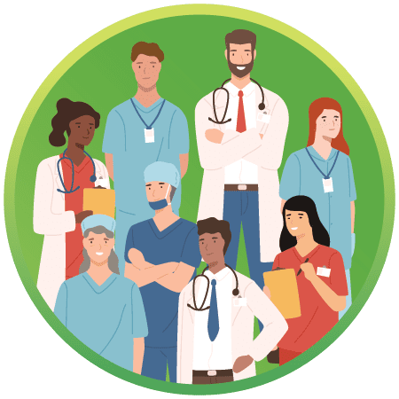 Illustration Showing a Diverse Group of Health Care Practictioners and Providers