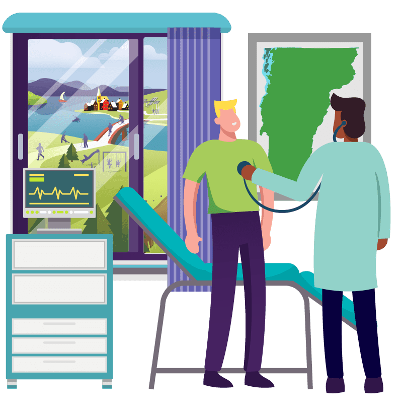 Illustration - OneCare Core Business Area - the Statewide Care Model - showing a doctor taking care of a male patient checking his heart beat with a stethoscope. Next to the patient is a window showing Vermonters in healthy communities engaging in activities promoting healthier lifestyles.