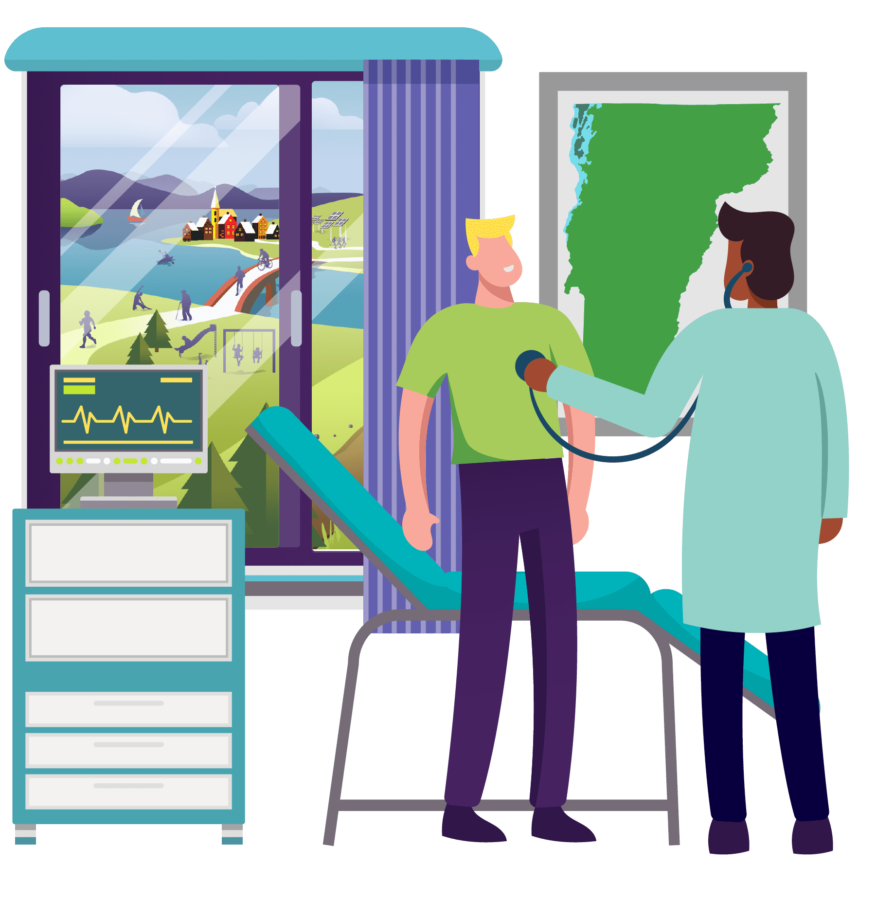 Larger Version Illustration - OneCare Core Business Area - the Statewide Care Model - showing a doctor taking care of a male patient checking his heart beat with a stethoscope. Next to the patient is a window showing Vermonters in healthy communities engaging in activities promoting healthier lifestyles.