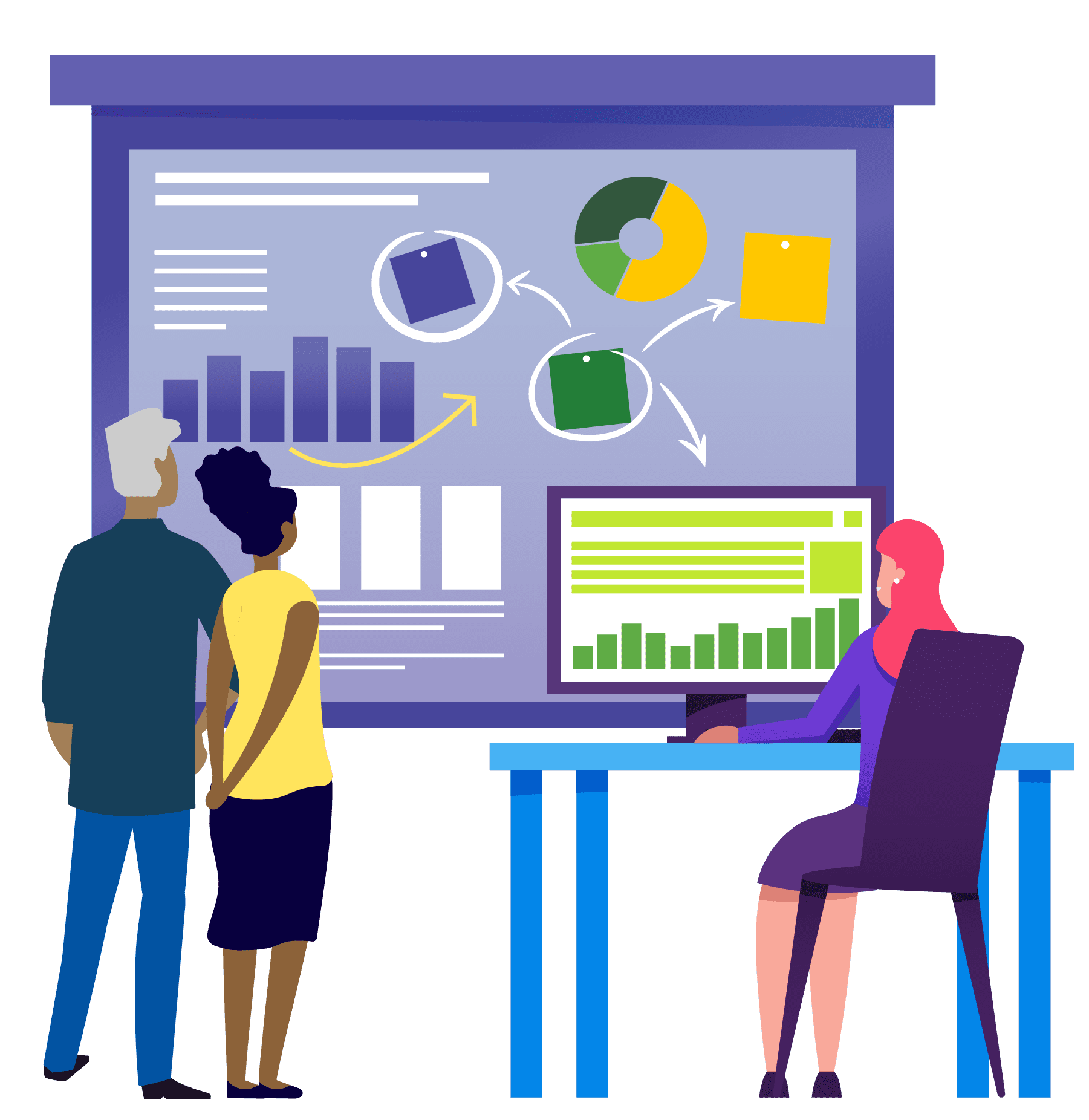 Larger Version - Illustration - OneCare Core Business Area - Data Analytics. Two data analysts on the left are looking at a large whiteboard covered in infographics and statistics. Next to them is a woman sitting in front of a computer generating detailed analytics.