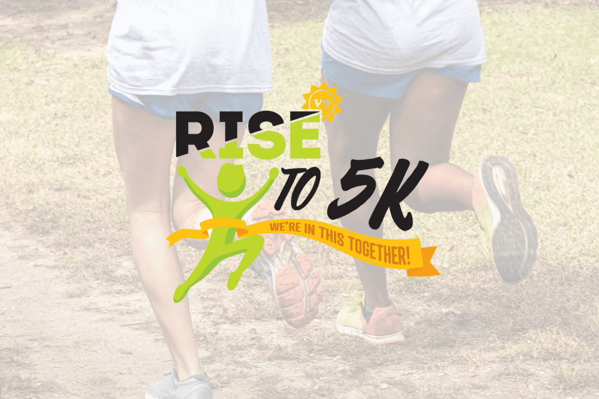 Rise to 5K logo with a stick figure runner crossing a finish line