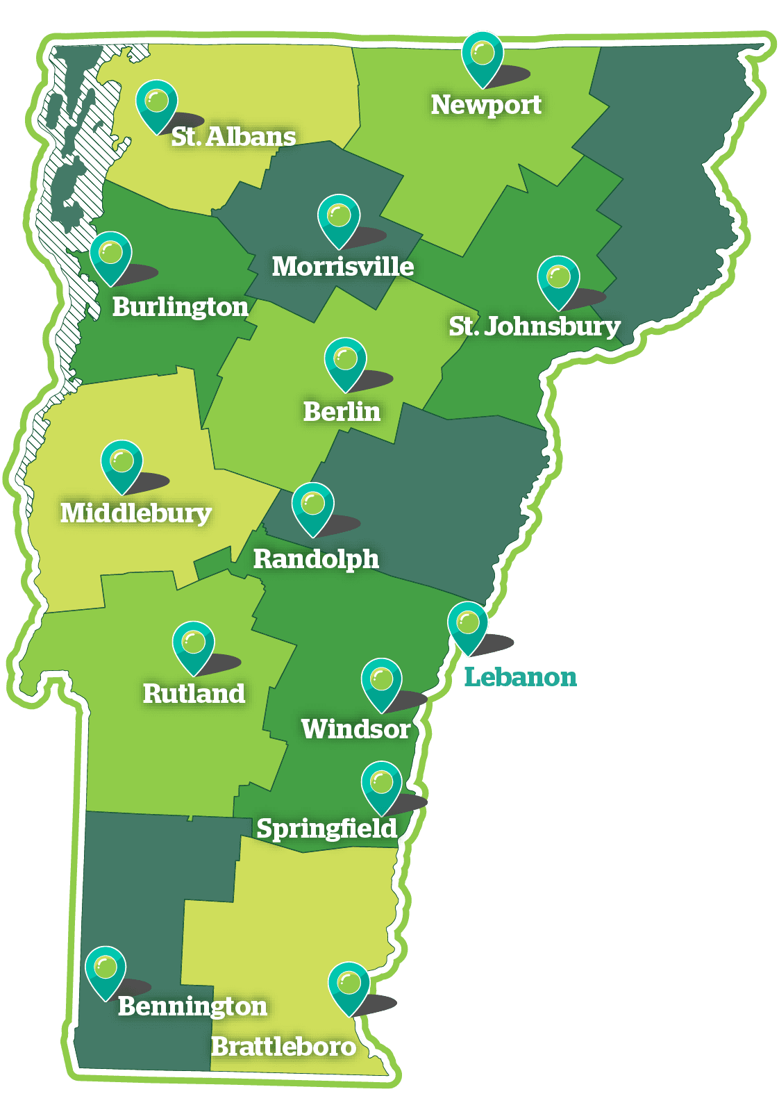 A map of Vermont that shows the boundaries of the health service areas in the state, and the locations - marked with pins - of the hospitals that participate in OneCare.