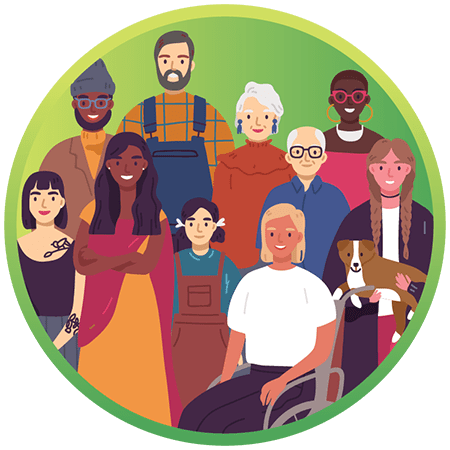 Image Description: A colorful, modern illustration of a large, diverse group of people representing Vermonters. There are many different ages, genders, races, and other demographics represented in the illustration